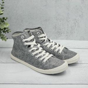 Roxy High Top Sneakers Black/White Stripes 6.5